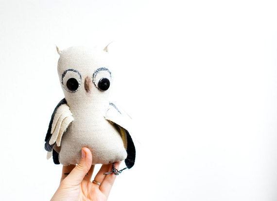 Hand sewn soft sculpture - Olaf the Owl. White and gray woodland, forest bird.