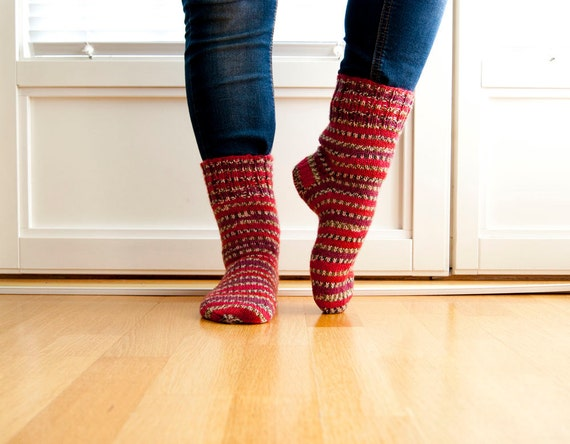 Hand knitted socks- lingon berry.  Wool blend socks with stripes in red and maroon.
