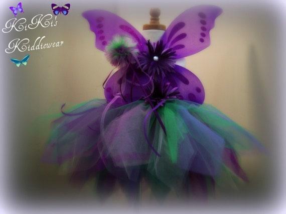 Custom Listing for Jamie Santiago..... Rain Forest Butterfly Tutu... 12 inch length...Purple...Deep Purple...Green...Costume