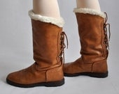 Vtg 70's Italian The Original Ugg Faux Fur Lined Tan Leather Boots With Tie Up Back Size EU 39/UK 6/US 8.5