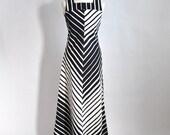Vtg 70's Diagonally Striped Fabulous Cotton Maxidress XS/S