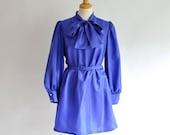 Vtg Silky Royal Blue Pussy Bow Secretary Dress S/M/L