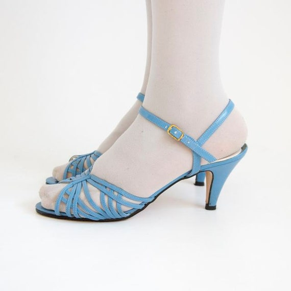 Storewide Sale 30% off of listed prices with coupon code Vtg Italian Vegan Friendly Light Blue Strappy Sandals EU 37/UK 4.5/US 6.5