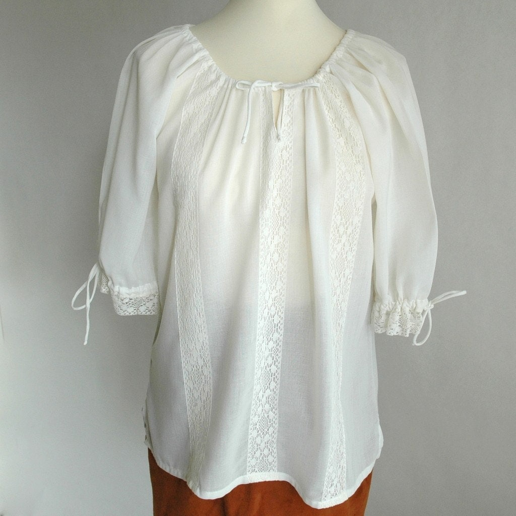 Collection Peasant Blouse White Pictures - Reikian