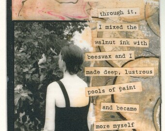 More Myself - large blank art card/frameable print - poetry collage