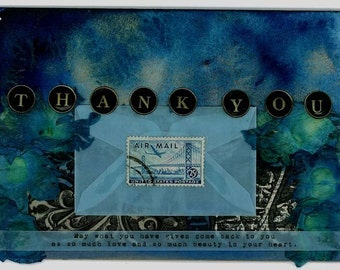 Thank You - small blank inspirational art collage poetry card