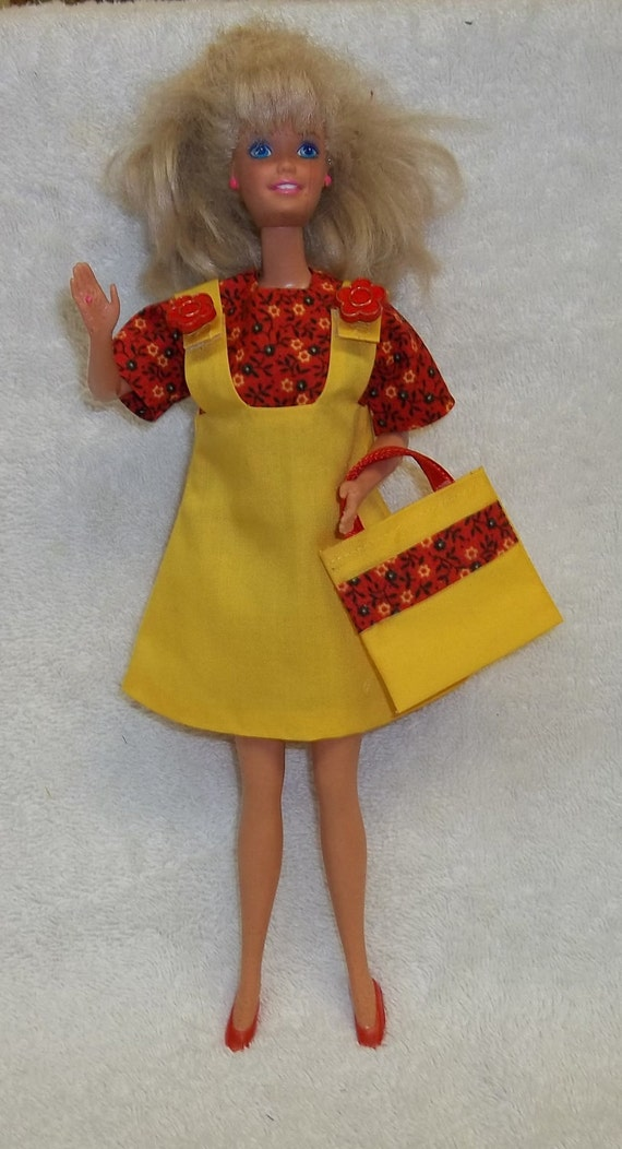New Handmade Barbie Yellow Jumper Yellow/Red Floral Blouse Shoes Bag