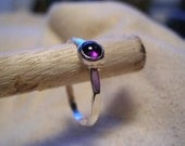 hammered silver wire and amethyst ring