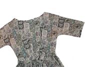 ILGWU Moss Paisley Dress - Vintage Frock - Autumn/Winter