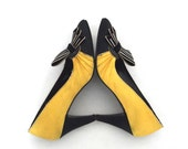Black and Yellow and Diamante - Vintage, Satin Cocktail Shoes