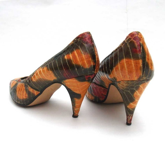 Snakeskin Heels - J. Renee Vintage Shoes- Rustic, Autumn Camouflage Colours - Size 6