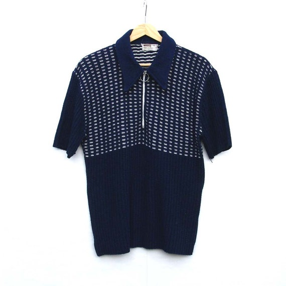 Men's Top - Vintage, Wooly, Knitted Male Shirt - Navy and White