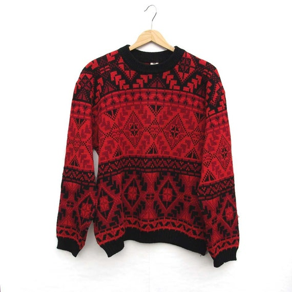 Black and Red - Wooly Knit Jumper - Folksy Pattern