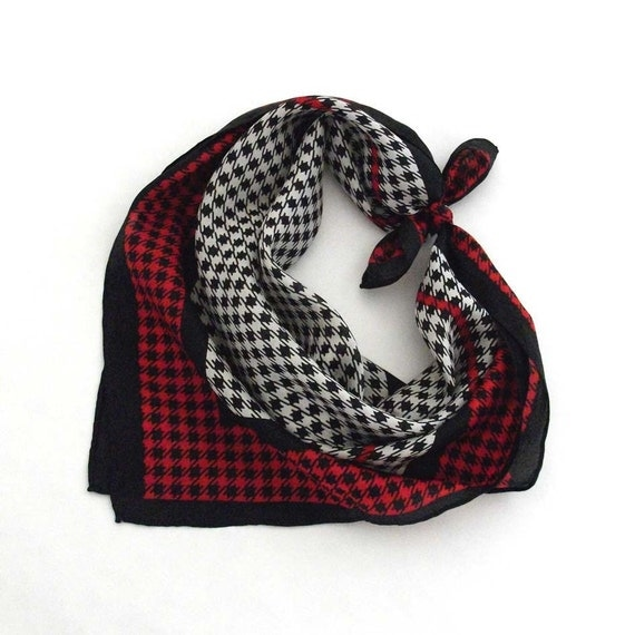 Classic Houndstooth - Silk Scarf - Vintage
