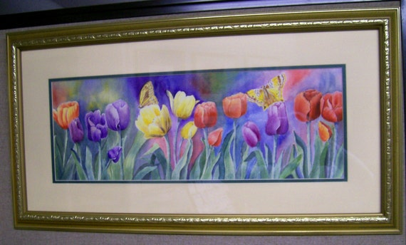 "Watercolor Art Print ""Butterfly Tulips"""