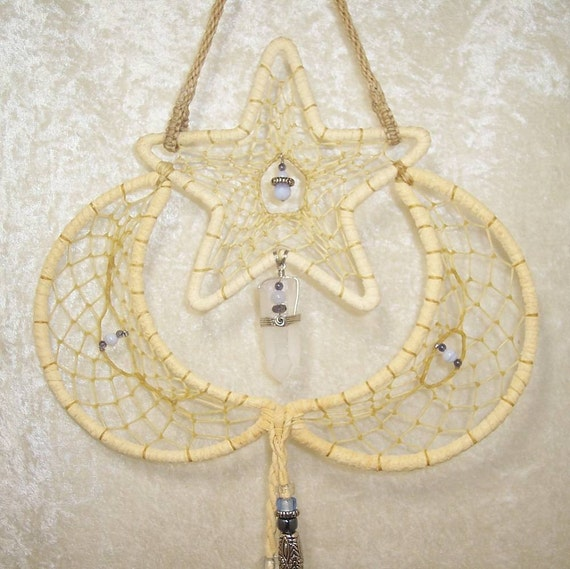 RISING STAR - OOAK Dreamcatcher in Light and Dark Blue by Feathered Dreams