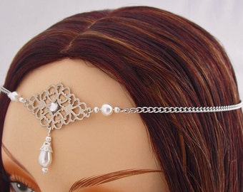 Silver elven Circlet, silver circlet, bridal silver crown Pagan Circlet, bohemian head chain renaissance circlet wedding tiara bohemian halo