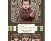 CHRISTMAS PATCH Photo Holiday Card - 4 pictures - Printable DIY 5x7