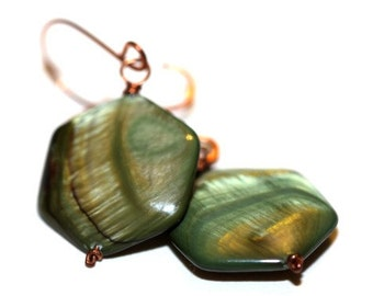 Green Mother of Pearl Earrings - 'Secret Rainforest'