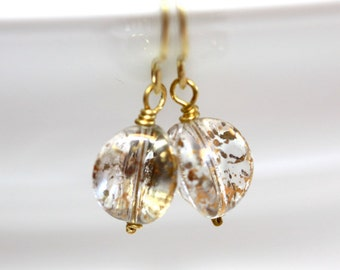 Clear and Gold Vintage Glass Earrings - 'Housewife's Lament'