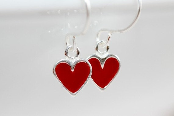 Red Heart Earrings * Heart Earrings * Heart Jewelry * Love Jewelry * Valentines Day Gift * St Valentine * Heart * Gift for Wife.*Manic Love*