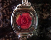 Encapsulated Rose Steampunk Necklace