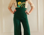 forest green 70s overalls with sunshine rainbow embroidery