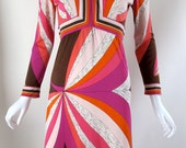 vintage 1960s EMILIO PUCCI silk jersey signed print pink white dress 14 m - l RESERVED
