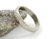Rustic Hammered Wedding Ring - 5mm 14k Palladium White Gold Love Rocks Wedding Band - made to order commitment ring - recycled metal