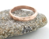 Love Rocks Wedding Ring - 3mm 14k Rose Gold Hammered Wedding Band - made to ordercommitment ring in recycled metal
