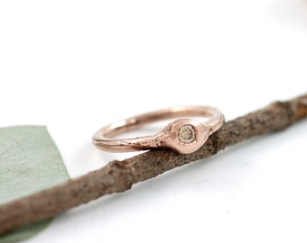 Redwood Twig Engagement Ring with Brown Diamond - 14k Rose Gold - made to order wedding ring in recycled metal conflict free diamond