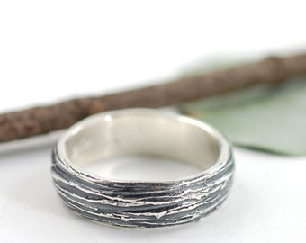 6mm Palladium Sterling Silver Tree bark  Wedding Ring - made to order wedding band in recycled metal