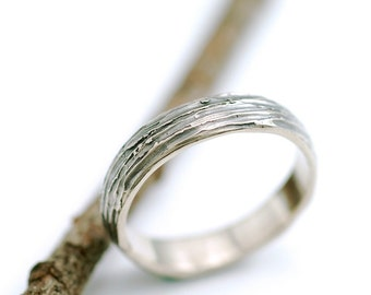 4mm 14k Palladium White Gold Tree Bark Wedding Ring - made to order wedding band in recycled metal nature inspired ecofriendly