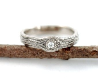 14k Palladium White Gold Tree Bark Love Knot 2mm Diamond Ring - eco-friendly engagement ring conflict free diamond recycled metal