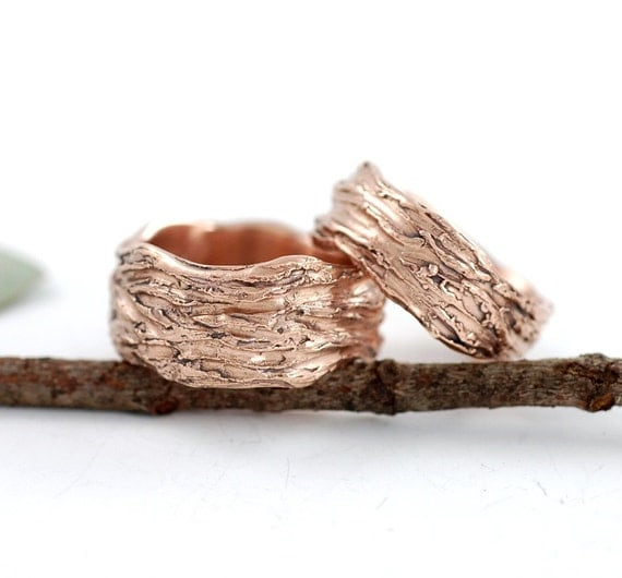 Redwoods Tree Bark Texture Wedding Rings - 14k Rose Gold - Set of two made to order wedding bands in recycled metal