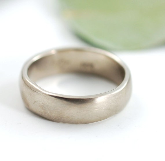Simplicity Wedding Ring- 6mm 14k palladium White Gold Wedding Band - made to order in your size - recycled metal - ecofriendly
