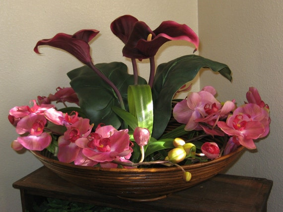 Butterfly Calla Lilies in a Nest of Orchids (Sold)