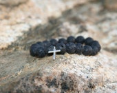 Lava Rock with Cross Charm