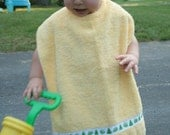 "Froggies on Yellow...Your New ""Favorite"" Towel Bib.... Oversized 100% Cotton Towel, Tonz of colors and options available"
