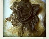 Black Victorian Silk flower  and Chantilly lace Headband Fascinator