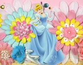 12 x 12 Premade Scrapbook Layout Disney Princess -- Cinderella - Girl - Pink Blue