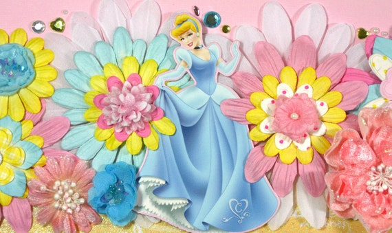 12 x 12 Premade Scrapbook Layout Disney Princess -- Cinderella - Girl - Pink Blue