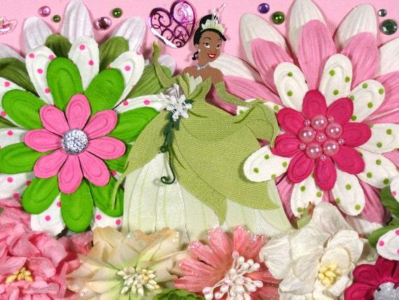 12 x 12 Premade Scrapbook Layout Disney Princess -- Tiana -- Princess and the Frog -- Girl