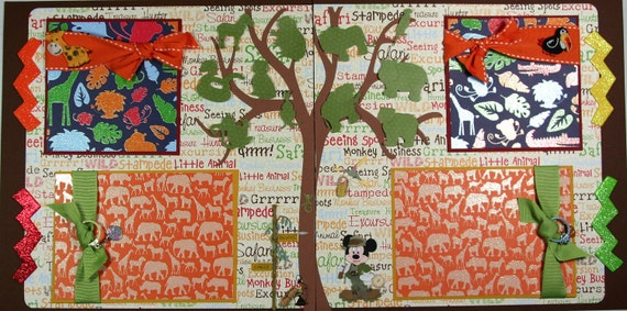 12 x 12 Premade Scrapbook Layout Disney Animal Kingdom -- Mickey -- Zoo -- Safari