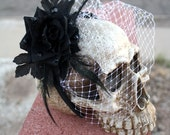 LOLITA Black Rose Headband with Veil