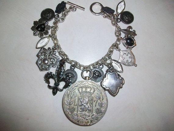 Chunky Medieval Charm Bracelet: Knighst Fleur de Lis, Crests