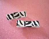 Black and White Zebra print Barrettes