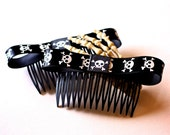 Skull and Crossbone Hair Combs