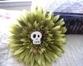 Green Skully Harvest Flower Hair Clip