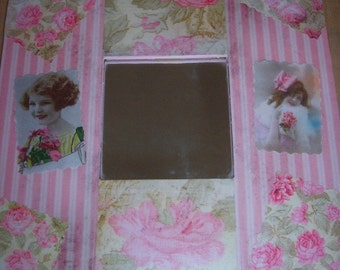 Beautiful Chic Shabby Decoupaged Mirror